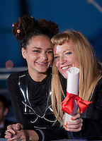 Director Andrea Arnold with the Jury Prize award for American Honey with Sasha Lane  at the Palm D'Or Winners photocall at the 69th Cannes Film Festival Sunday 22nd May 2016, Cannes, France. Photography: Doreen Kennedy