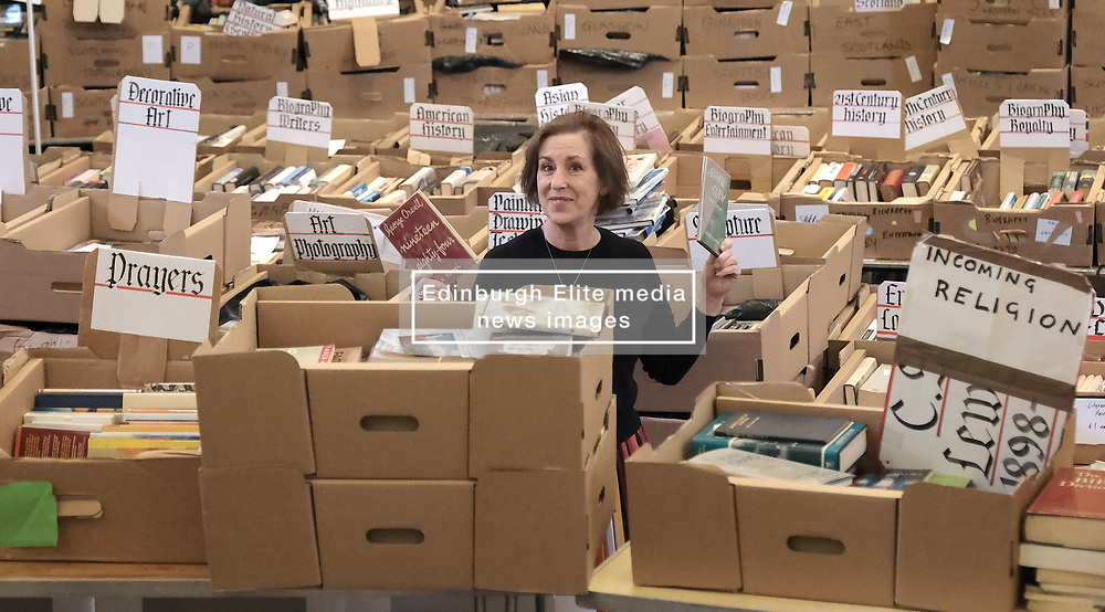 Journalist Kirsty Wark is photographed ahead of the Christian Aid week George Street book sale. Items on sale include first editions of George Orwell's 1984 and Animal Farm, a second edition of Walter Scott's Rob Roy and a signed first edition limited edition copy of TS Elliott's Dante. The sale will take place on Saturday. St Andrew's and St George's West Church, George Street, Edinburgh<br /> <br /> Pictured: Kirsty Wark<br /> <br /> Alex Todd   Edinburgh Elite media