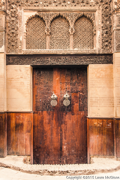 Moroccan Doorway in Wood & Stone, Fez Morocco