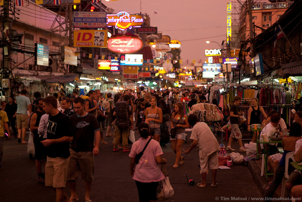 Evening on Khao San Road in Bangkok, Thailand.