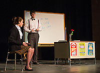 """Kaylee Lemire and Christian Ayer during dress rehearsal for """"The Universal Language"""" during """"All In The Timing"""" a producation of six short comedies at Gilford High School on Tuesday afternoon.  (Karen Bobotas/for the Laconia Daily Sun)"""