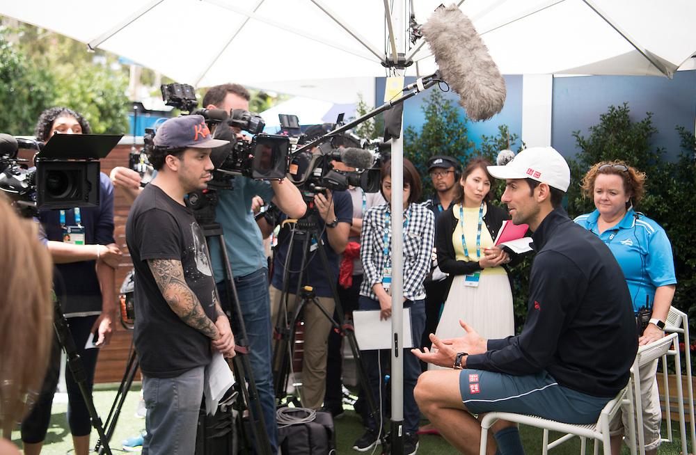 Novak Djokovic of Serbia during his pre-tournament press conference ahead of the 2017 Australian Open at Melbourne Park on January 14, 2017 in Melbourne, Australia.<br /> (Ben Solomon/Tennis Australia)