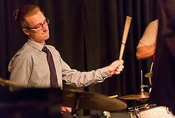 Thomas Horn on drums with the PLU Jazz Ensemble at Tula's Jazz Club in Seattle on Sunday, May 3, 2015. (Photo: John Froschauer/PLU)