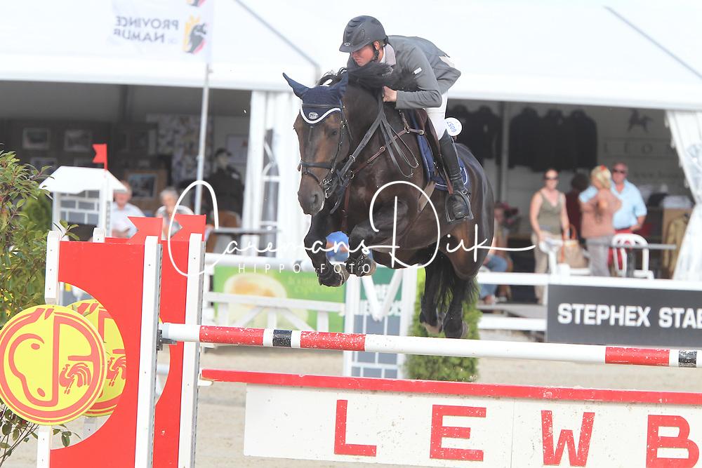 Laheyne Dieter (BEL) - Geena van't Roosakker<br /> Belgisch kampioenschap jonge springpaarden Gesves 2012<br /> &copy; Hippo Foto - Counet Julien
