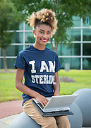Sterling High School student Kianna Eaglin poses for a photograph at the Houston Community College Northeast campus, October 9, 2014.
