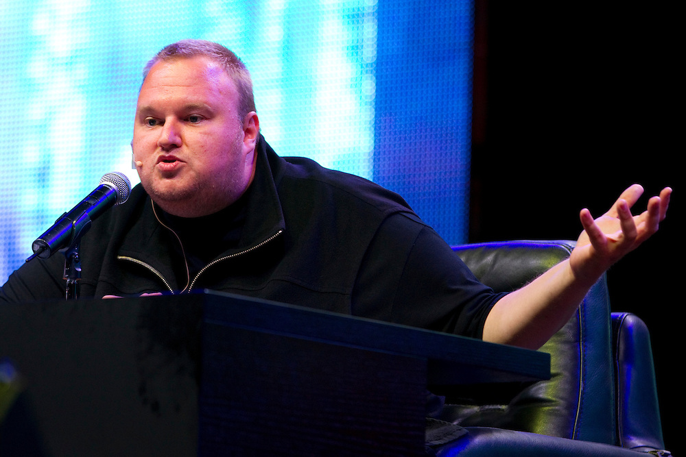 Kim Dotcom speaking at the launch of Mega website, Dotcom Mansion, Coatesville, Auckland, New Zealand, Sunday, January 20, 2013.  Credit:SNPA / David Rowland
