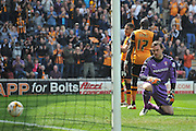Rotherham United goalkeeper Lee Camp (1) looks at the ball rolling back out of the net after Hull City midfielder Jake Livermore (14) behined 17 scored his second goal to go 5-1 up during the Sky Bet Championship match between Hull City and Rotherham United at the KC Stadium, Kingston upon Hull, England on 7 May 2016. Photo by Ian Lyall.