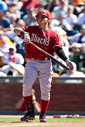 May 30, 2010; San Francisco, CA, USA;  Arizona Diamondbacks left fielder Gerardo Parra (18) at bat against the San Francisco Giants during the eighth inning at AT&T Park.  San Francisco defeated Arizona 6-5 in 10 innings.
