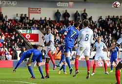 Tammy Abraham of England U21 heads - Rogan Thomson/JMP - 11/10/2016 - FOOTBALL - Bescot Stadium - Walsall, England - England U21 v Bosnia and Herzegovina - UEFA European Under 21 Championship Qualifying.
