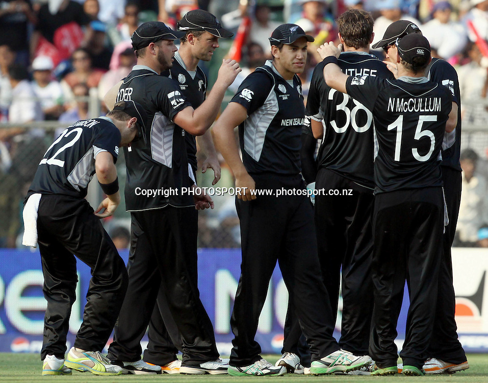 New Zealand players celebrates Sri Lakan batsman Tillakaratne Dilshan wicket During the ICC Cricket World Cup - 38th Match, Group A Sri Lanka vs New Zealand  Played at Wankhede Stadium, Mumbai (neutral venue) 18 March 2011 - day/night (50-over match)