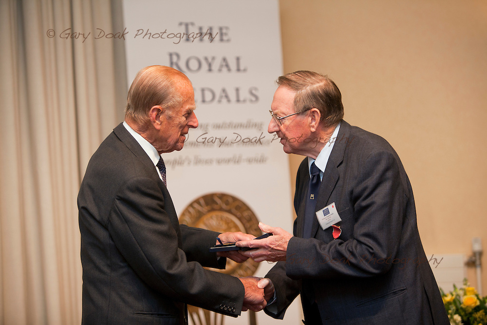 Royal Medals presentation by HRH The Duke of Edinburgh at The Royal Society of Edinburgh..Professor S Desmond Smith OBE FRS FRSE receives his Royal Medal from HRH The Duke of Edinburgh.