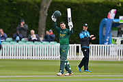 Michael Lumb acknowledges the crowd applause for his century during the Royal London 1 Day Cup match between Worcestershire County Cricket Club and Nottinghamshire County Cricket Club at New Road, Worcester, United Kingdom on 27 April 2017. Photo by Simon Trafford.