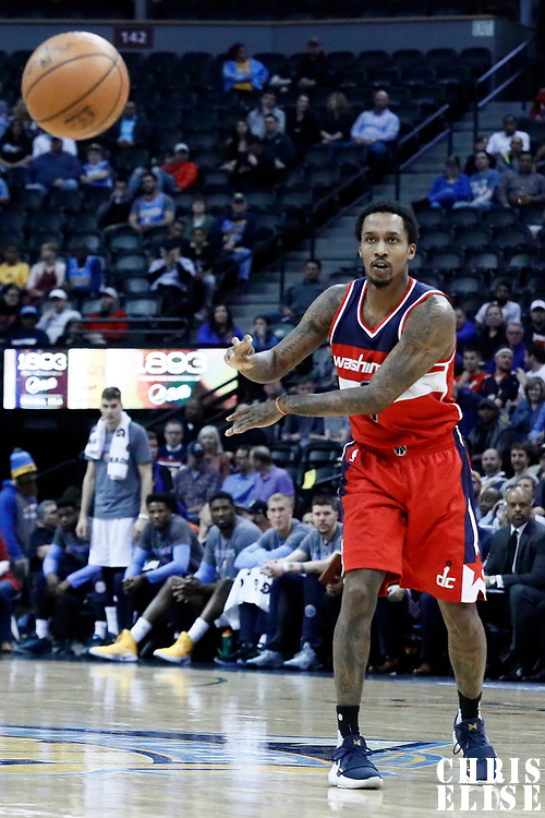08 March 2017: Washington Wizards guard Brandon Jennings (7) passes the ball during the Washington Wizards 123-113 victory over the Denver Nuggets, at the Pepsi Center, Denver, Colorado, USA.