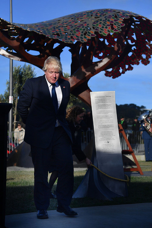 Britain's Foreign Secretary Boris Johnson unveils a new UK memorial at Pukeahu War Memorial Park during a two day visit to Wellington, New Zealand on July 24, 2017. Credit:SNPA / Marty Melville  AFP POOL