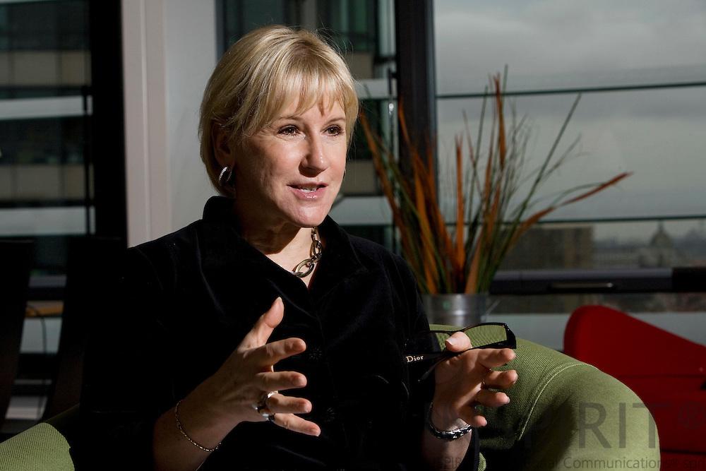 BRUSSELS - BELGIUM - 17 NOVEMBER 2009 -- EU-Commissioner Margot Wallström (Wallstrom) during an interview at her office.  PHOTO: ERIK LUNTANG / INSPIRIT