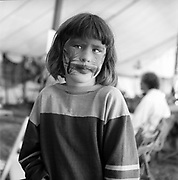 Face painted girl, Glastonbury, Somerset, 1989
