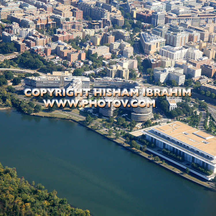 Aerial View of Georgetown, The John F. Kennedy Center for the Performing Arts and Watergate Complex, Washington DC, USA