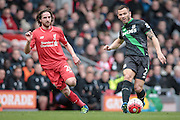 Phil Bardsley (Stoke City) and Joe Allen (Liverpool) during the Barclays Premier League match between Liverpool and Stoke City at Anfield, Liverpool, England on 10 April 2016. Photo by Mark P Doherty.