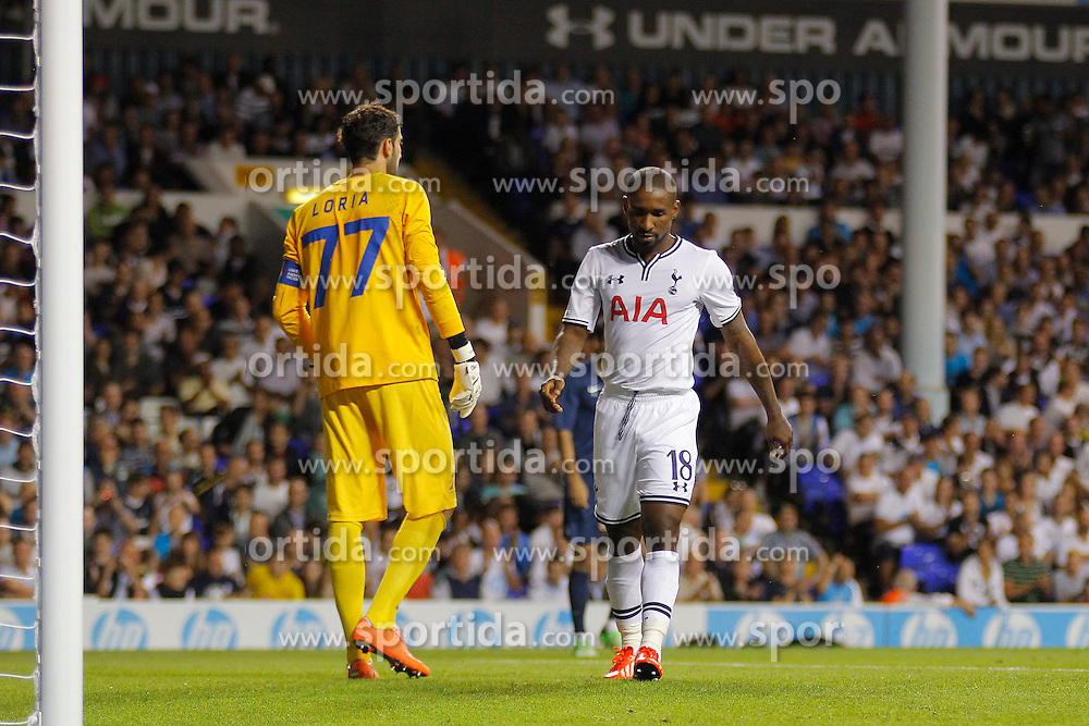29.08.2013, White Hart Lane, London, ENG, UEFA CL Qualifikation, Tottenham Hotspur vs FC Dinamo Tiflis, Rueckspiel, im Bild Dinamo Tbilisi's Giorgi Loria and Tottenham's Jermain Defoe during the UEFA Europa League Qualifier second leg match between Tottenham Hotspur and FC Dinamo Tiflis Zuerich at the White Hart Lane in London, England on 2013/08/29 . EXPA Pictures © 2013, PhotoCredit: EXPA/ Mitchell Gunn <br /> <br /> ***** ATTENTION - OUT OF GBR *****