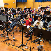 NLD/Hilversum/20130930 - Repetitie Metropole Orkest voor concert, vrnl Bart van Lier, Jan Oosting en Jan Bastiani