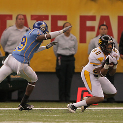 2008 November, 29: Grambling State wide receiver Nick Lewis (82) catches a pass in front of Southern University defensive back Joe Manning (19) during a 29-14 win by Grambling State over Southern University during the 35th annual State Farm Bayou Classic at the Louisiana Superdome in New Orleans, LA.  .