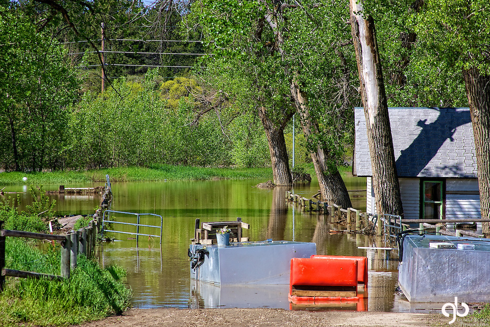 House flooded by Musselshell River in Roundup, Montana during the Spring of 2011.