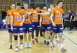 Players of ACH celebrate after winning during volleyball match between ACH Volley and Calcit Volleyball in Round #3 of Finals of 1. DOL Slovenian Championship 2014/15, on April 19, 2015 in Hala Tivoli, Ljubljana, Slovenia.  Photo by Vid Ponikvar / Sportida