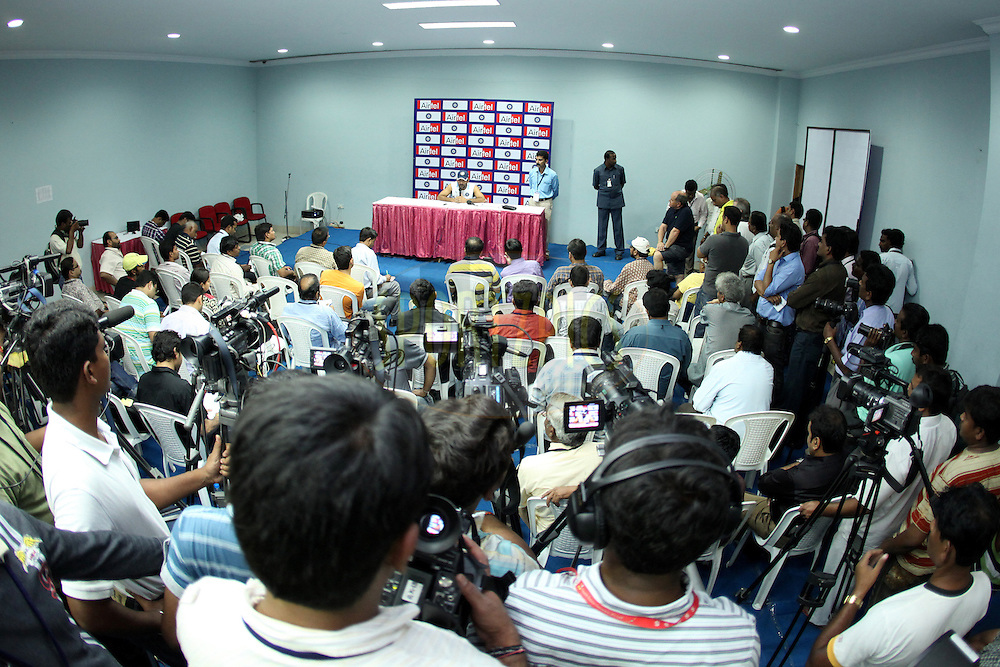 MS Dhoni of India in the press conference during the Indian team training session held at the Rajiv Gandhi International Cricket Stadium in Hyderabad on the 11th November 2010..Photo by Ron Gaunt/BCCI/SPORTZPICS