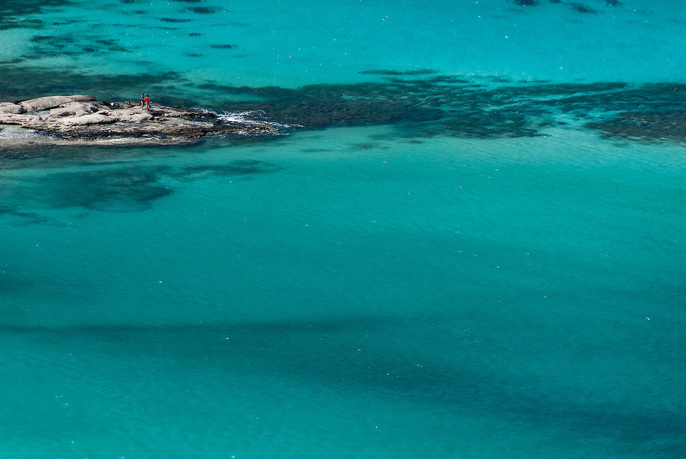 The clear water of Balos Bay, Crete.