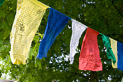 "Tibetan prayer flags swaying in the breeze at Nottingham University Student Union ""Sounds on the Downs"" Green Fields Festival; part of Green Week 2008, In March 2008 protests by monks in Lhasa marking the 49th anniversary of a failed uprising against Chinese rule turned into riots and clashes with security forces,"
