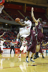 12 February 2011: Austin Hill climbs the air stairs to deliver the ball to the hoop during an NCAA Missouri Valley Conference basketball game between the Missouri State Bears and the Illinois State Redbirds at Redbird Arena in Normal Illinois.