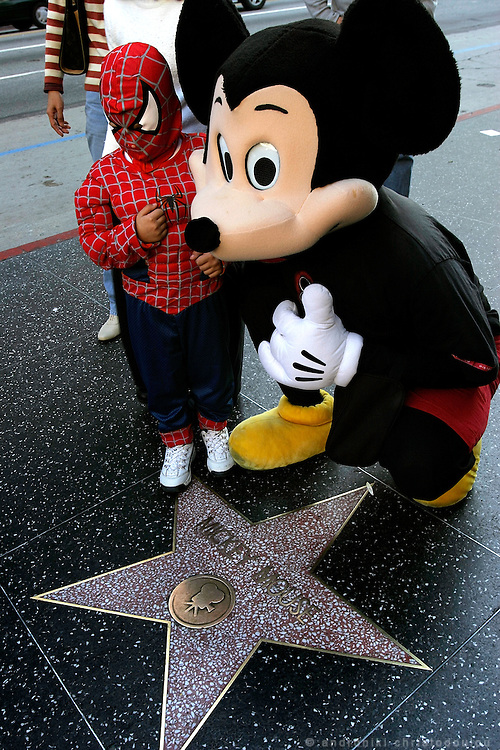 Mickey Mouse impersonator in front of the Chinese Theatre on Hollywood Blv.