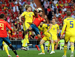 MADRID, June 11, 2019  Spain's Isco (R, top) vies with Sweden's Filip Helander (L, top) during the UEFA Euro 2020 group F qualifying football match between Spain and Sweden in Madrid, Spain, on June 10, 2019. Spain won 3-0. (Credit Image: © Edward F. Peters/Xinhua via ZUMA Wire)