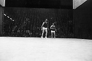 Senior Handball Final.    H24..1974..31.08.1974..08.31.1974..31st August 1974..The Senior Handball Championship final took place at Croke Park,Dublin today. The final was contested between Pat Kirby of Ennis,Co Clare and Pat Murphy of Wexford. Pat Murphy in striped shirt ran as the eventual winner of the Championship..Picture is one of a series of action shots (35) taken during the game.