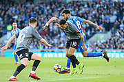 Coventry City player Jonson Clarke-Harris (18) battles and is tackled by Brighton and Hove Albion defender Connor Goldson (18) during the The FA Cup match between Brighton and Hove Albion and Coventry City at the American Express Community Stadium, Brighton and Hove, England on 17 February 2018. Picture by Phil Duncan.