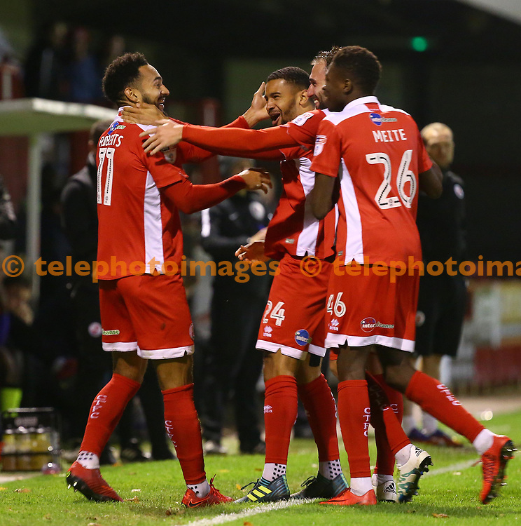Crawley's Jordan Roberts celebrates scoring during the Sky Bet League 2 match between Crawley Town and Exeter City at the Checkatrade Stadium in Crawley. 21 Nov 2017<br /> *** NO SOCIAL MEDIA ***