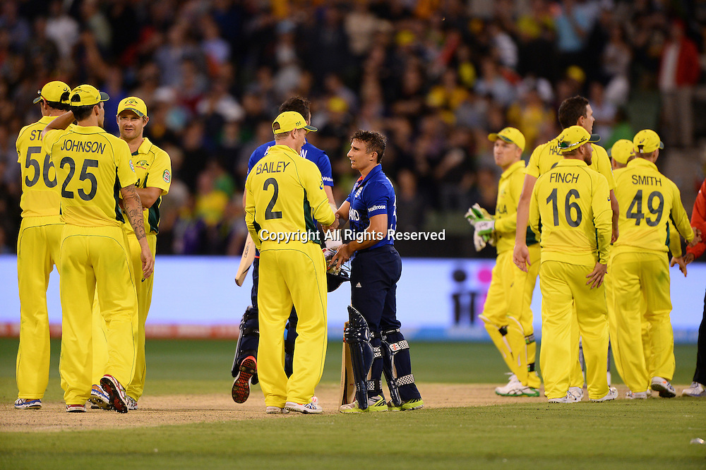 Australia take the win 9-342 to ENG all out for 231<br /> Australia vs England / Match 2<br /> 2015 ICC Cricket World Cup / Pool A<br /> MCG / Melbourne Cricket Ground <br /> Melbourne Victoria Australia<br /> Saturday 14 February 2015<br /> &copy; Sport the library / Jeff Crow
