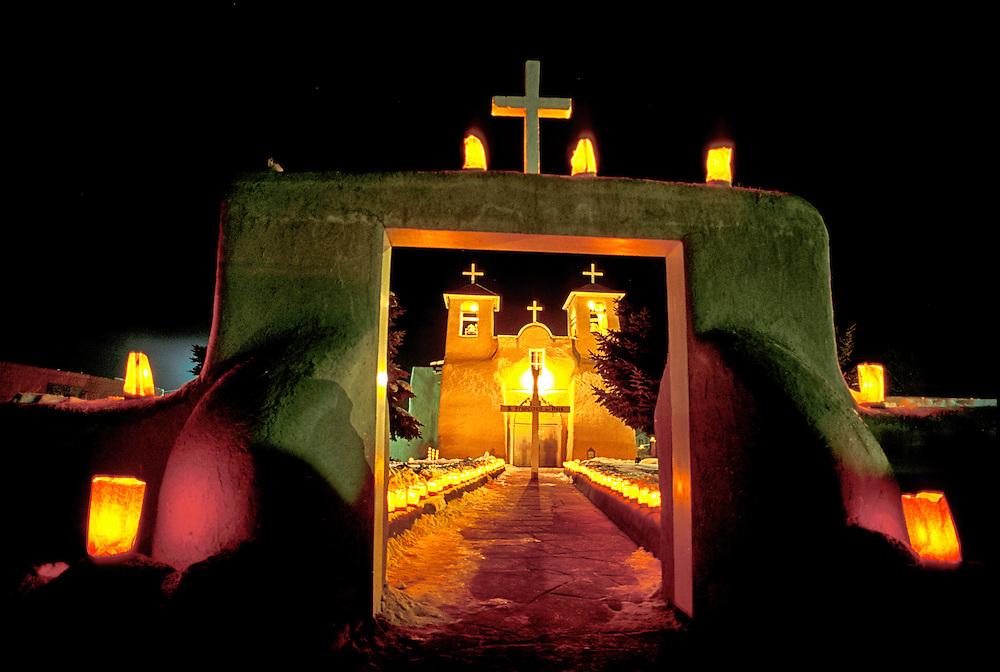San Francisco de Asis Church, Ranchos de Taos, Christmas lights, New Mexico, USA