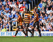 Barnet's Andy Yiadom celebrates the opening goal during the Sky Bet League 2 match between Portsmouth and Barnet at Fratton Park, Portsmouth, England on 12 September 2015. Photo by David Charbit.