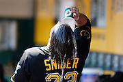 PITTSBURGH, PA - MAY 7: Travis Snider #23 of the Pittsburgh Pirates pours water over his head to cool off in between innings of the game against the San Francisco Giants on May 7, 2014 in Pittsburgh, Pennsylvania. The Pirates won the game 4-3. (Photo by Joe Robbins/Getty Images) *** Local Caption ***