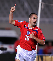 Joe Cole celebrates Scoring 2nd goal<br /> England 2008/09 <br /> Andorra V England (0-2) World Cup 2010 Qualifying Match <br /> at Monjiic Olympic Stadium in Barcelona 06/09/08<br /> Photo Robin Parker Fotosports International