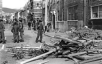 Soldiers at scene of Provisional IRA bombing of Hastings Street RUC Station, Belfast, N Ireland, 10th June 1971, 197106100224<br />