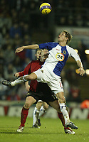 Photo: Aidan Ellis.<br /> Blackburn Rovers v Bayer Leverkusen. UEFA Cup, 2nd Leg. 22/02/2007.<br /> Rovers Morten Gamst Pedersen keeps a close eye on the ball