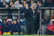 Manchester United interim Manager Ole Gunnar Solskjaer gestures during the Premier League match between Crystal Palace and Manchester United at Selhurst Park, London, England on 27 February 2019.