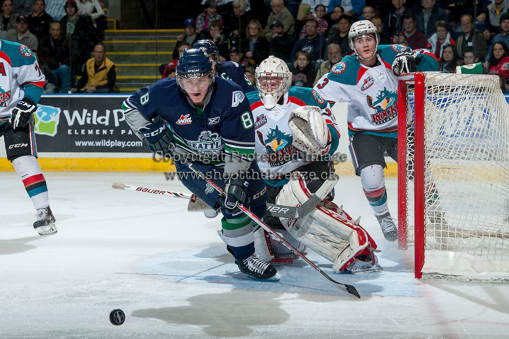 KELOWNA, CANADA - APRIL 5: Scott Eansor #8 of the Seattle Thunderbirds skates for the puck against the Kelowna Rockets on April 5, 2014 during Game 2 of the second round of WHL Playoffs at Prospera Place in Kelowna, British Columbia, Canada.   (Photo by Marissa Baecker/Getty Images)  *** Local Caption *** Scott Eansor;