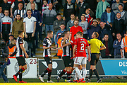Tempers eventually boil over between Danny Mullen of St Mirren & Darian MacKinnon (c) of Hamilton with Match Referee William Collum having to step in during the Ladbrokes Scottish Premiership match between St Mirren and Hamilton Academical FC at the Paisley 2021 Stadium, St Mirren, Scotland on 13 May 2019.