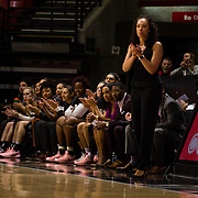 24 February 2018: The San Diego State women's basketball team closes out it's home schedule of the regular season Saturday afternoon against San Jose State. San Diego State Aztecs head coach Stacie Terry applauds her team after stealing the ball and scoring on a fast break in the first half. At halftime the Aztecs lead the Spartans 36-33 at Viejas Arena.<br /> More game action at sdsuaztecphotos.com