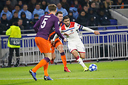 Fekir Nabil of Lyon and Oleksandr Zinchenko of Manchester City and John Stones of Manchester City during the UEFA Champions league, Group F football match between Olympique Lyonnais and Manchester City on November 27, 2018 at Groupama stadium in Decines-Charpieu near Lyon, France - Photo Romain Biard / Isports / ProSportsImages / DPPI