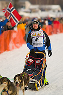 05 March 2006: Willow, Alaska - Tore Albrigtsen of Tromso, Norway at the restart of the 2006 Iditarod on Willow Lake in Willow, Alaska