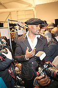 Tyson Beckford  backstage at This Day/Arise Magazine: African Fashion Collective 2009 held at The Promenade at the 2009 Fall Fashion Week at Bryant Park, NYC
